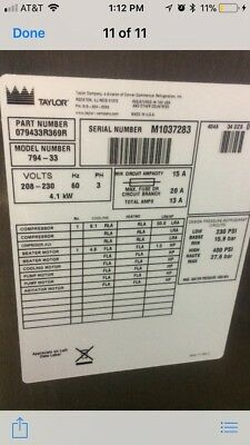 Taylor Model Commercial Grade Soft Serve Yogurt / Ice Cream Machine Model 794