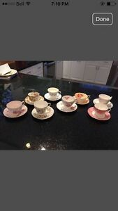 Lovely England Bone China set of 8 different Tea Cups & Saucers