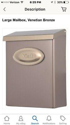 Designer Post Box (Designer Vertical Wall Mount Steel Locking Large Mailbox Bronze Mail Post Box)