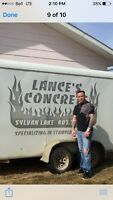 Lances concrete service 26 years exp