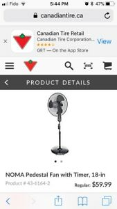 Brand New in Box Noma Pedestal Fan with Remote and Timer