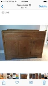 Go Back In Time. Vintage Antique Rustic Hutch