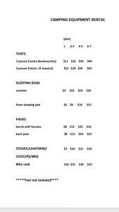 Camping equipment for rent/rental & bike rack