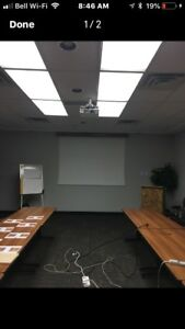Projector and screen as well as wood fixture