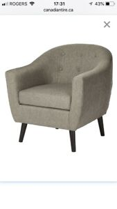 Tailored Grey Fabric Armchair