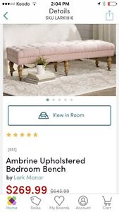 Blush pink tufted bench