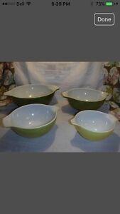 4 piece Verde Pyrex Cinderella Bowls