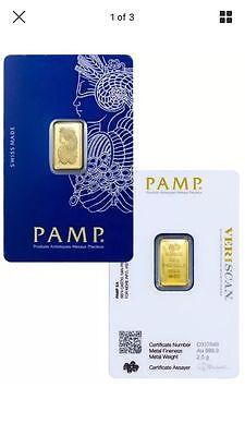 PAMP Suisse 2.5 Gram .9999 Gold Bar Fortuna W/ VeriScan Certificate. Invest Now!