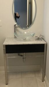 Modern clean line 31 inch vanity sink and tap