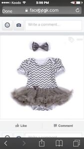 New baby onesie, chevron with tutu and matching headband
