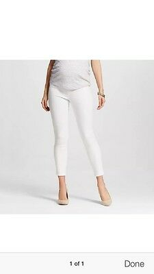 Liz Lange Maternity White Jeans Pants Over Belly Ankle Skinny Size XS XL Or XXL