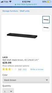 Ikea Lack wall shelves, black-brown x 2