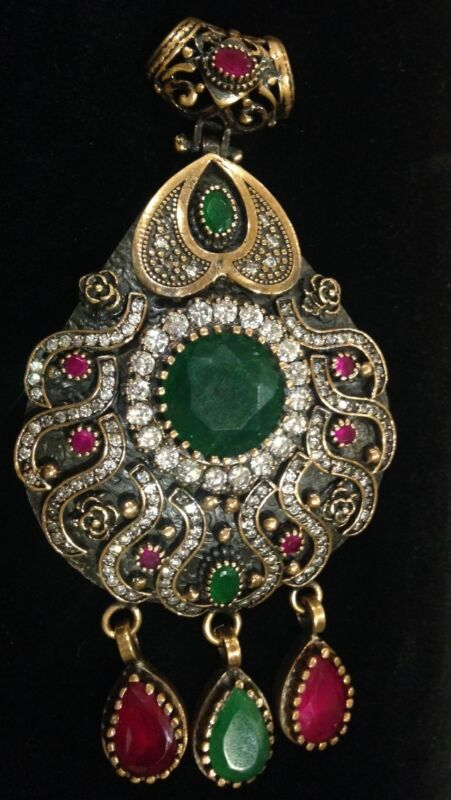 Vintage 925 Sterling Silver And 14k Gold Pendant With Emeralds, Rubys & Crystals