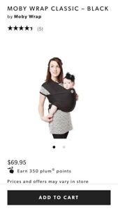 Moby wrap baby carrier. Black