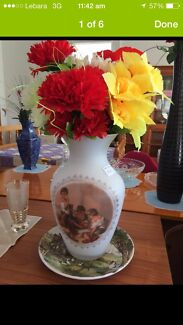 Vase + plate with flowers  Sandy Bay Hobart City Preview