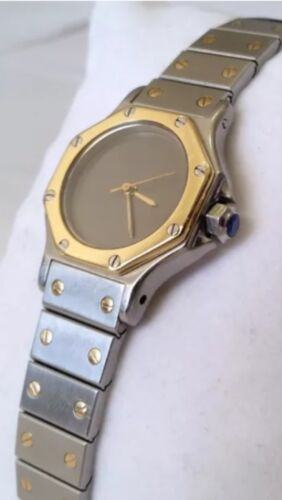 $805.00 - Authentic Cartier Santos Octagon Ladies Steel 18K Gold Automatic Watch