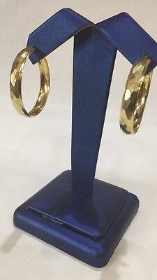 - 14K YELLOW GOLD POLISHED DIAMOND CUT BANGLE HOOPS EARRINGS 1 1/4
