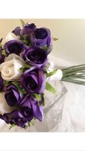 Artificial silk rose bouquets 1 X purple/white and 3 X just white Frankston North Frankston Area Preview