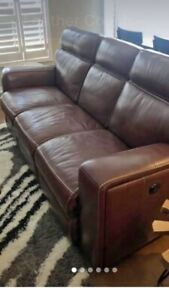 Dual Reclining Top Grain Leather Sofa