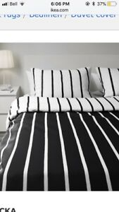 King Sized Black and White Duvet Cover with Pillowcases