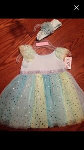 BNWT Children's Place turquoise dress with matching headband