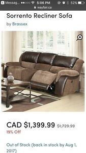 Sorrento recliner sofa for sale!