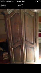 DISTRESSED ANTIQUE INFLUENCE ARMOIRE/WARDROBE FOR SALE