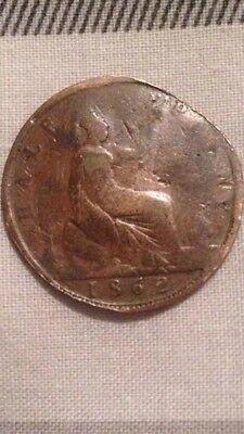 1862 HalfPenny Queen Victoria Coin