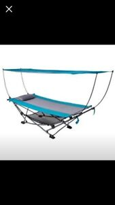 Folding Hammock with Removable Canopy - Blue