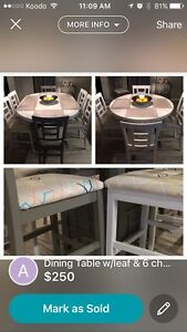 Bar style dining table & chairs