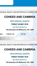 2 Coheed and Cambria Tickets North Melbourne Melbourne City Preview