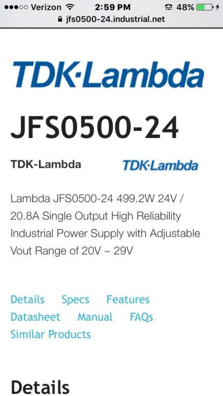 LAMBDA ELECTRONICS JFS050024 POWER SUPPLY *USED*