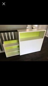 headboard with shelves and cubby for  single bed, large desk