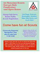 1st Nanaimo Scouts Garage Sale Fundraiser and Open House