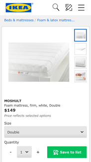 Mattress double size IKEA Moshult never used