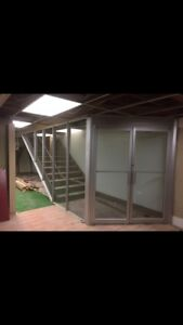 Reinforced partition glass doors, steel framing