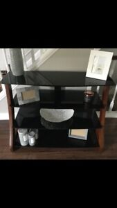 4 Tier glass and wood TV stand