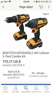 2 bostitch 18v impact et drill percussion outils