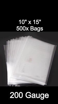 500x LDPE CLEAR POLY BAGS 10