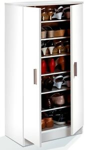 Alfy Alpine White Shoe Cabinet Cupboard Storage Rack Unit