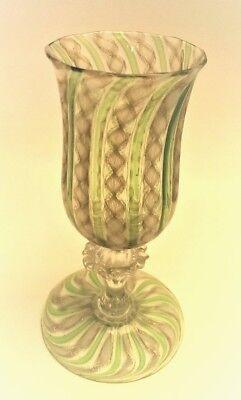 An Antique Venetian Murano Aventurine & Green Art Glass Goblet by Salviati