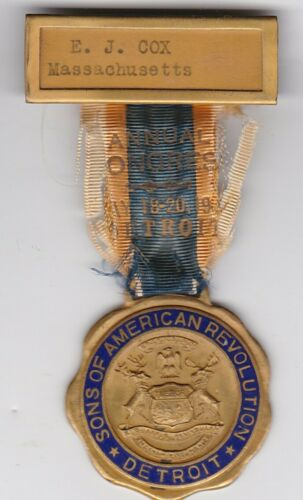 Original US Sons of American Revolution DETROIT Michigan post WWI CONGRESS Medal