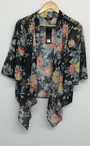 WOMENS LADIES FLORAL CHIFFON KIMONO WATERFALL CARDIGAN SHRUG TOP PLUS SIZE 8-22