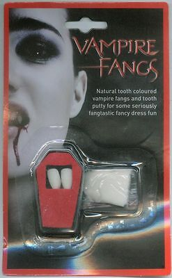VAMPIRE FANG COFIN TEETH WITH PUTTY FOR HALLOWEEN FANCY DRESS (Putty For Teeth)