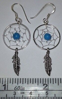 Sterling Silver, 18mm Dreamcatcher Dangle Earrings with Turquoise Bead. 1 -