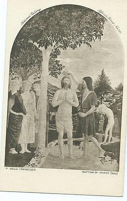 Black & White Postcard of Painting of Baptism of Christ by P Della Francesca