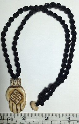 Real Carved Bone, Buddha Hand with Endless Knot Pendant on macrame Necklace