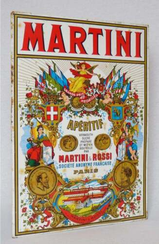 Rare Colorful Vintage French Toleware Advertising Sign for Martini & Rossi