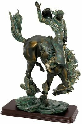 Wild West Bucking Bronco Rugged American Cowboy Faux Bronze Statue -