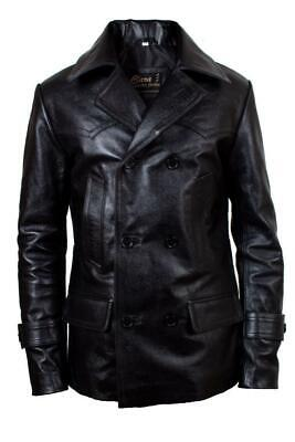 WW2 GERMAN ARMY MILITARY UNIFORM MENS BLACK REAL LEATHER JACKET COAT-DR WHO COAT